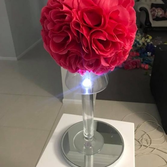 Table Centrepiece - Paper Flowers and Light Base