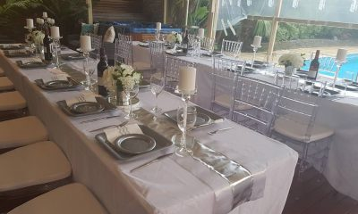 Silver Theme Table Decoration