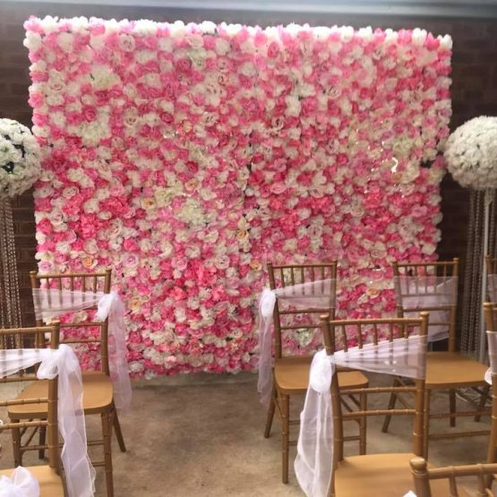 pink and white flower wall event decoration